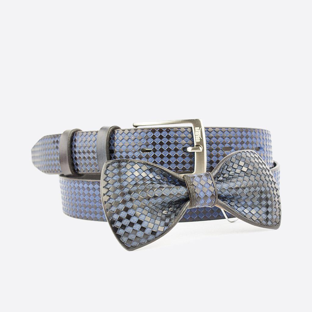 Vendita coordinati cintura cuoio papillon islero blue square 1