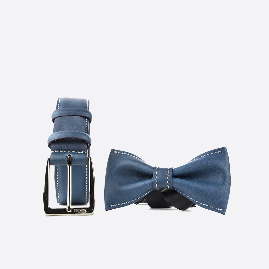 vednita cinture e papillon in pelle bolton blue